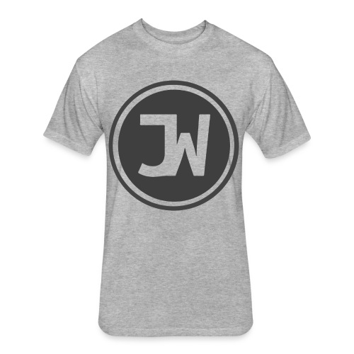 Grey Johannes With Logo - Fitted Cotton/Poly T-Shirt by Next Level