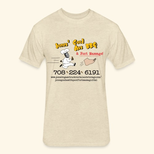 Jones Good Ass BBQ and Foot Massage logo - Fitted Cotton/Poly T-Shirt by Next Level