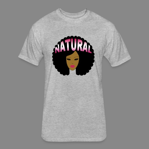 Natural Afro (Pink) - Fitted Cotton/Poly T-Shirt by Next Level