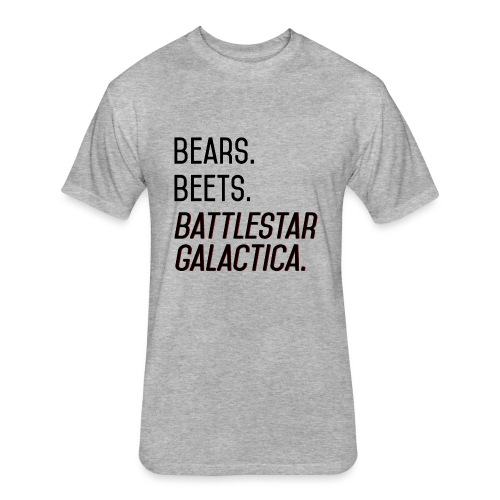 Bears. Beets. Battlestar Galactica. (Black & Red) - Fitted Cotton/Poly T-Shirt by Next Level