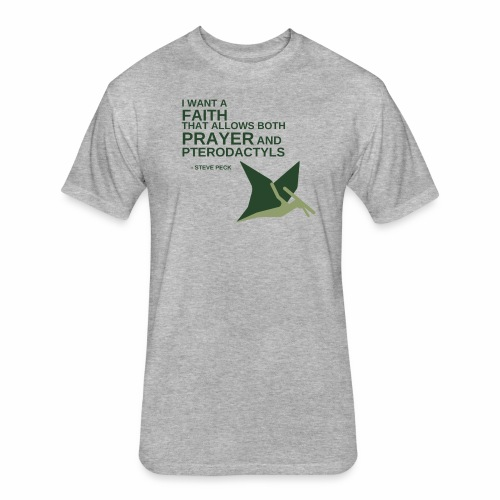 Prayer and Pterodactyls Green - Fitted Cotton/Poly T-Shirt by Next Level