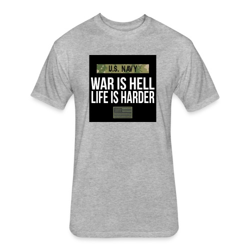 War Is Hell Navy - Fitted Cotton/Poly T-Shirt by Next Level