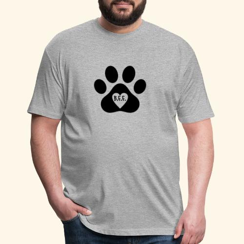Dog Paw B.F.F. Design - Fitted Cotton/Poly T-Shirt by Next Level