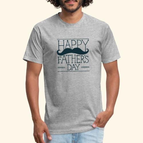 Fathers Day Mustache Design - Fitted Cotton/Poly T-Shirt by Next Level