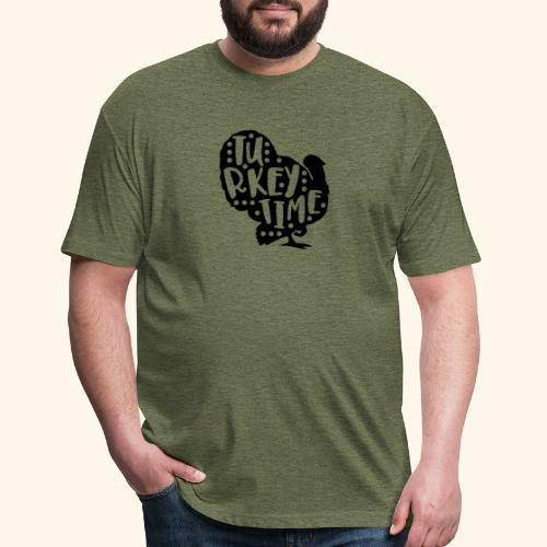 Turkey Time Thanksgiving Design - Fitted Cotton/Poly T-Shirt by Next Level