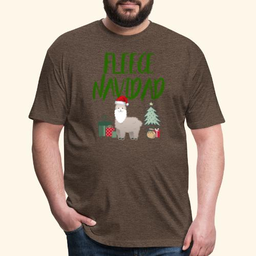 FLEECE Navidad Christmas lama Tee - Fitted Cotton/Poly T-Shirt by Next Level