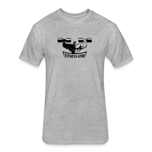 Fitness Gym Muscled Bodybuilding Dumbbells - Fitted Cotton/Poly T-Shirt by Next Level