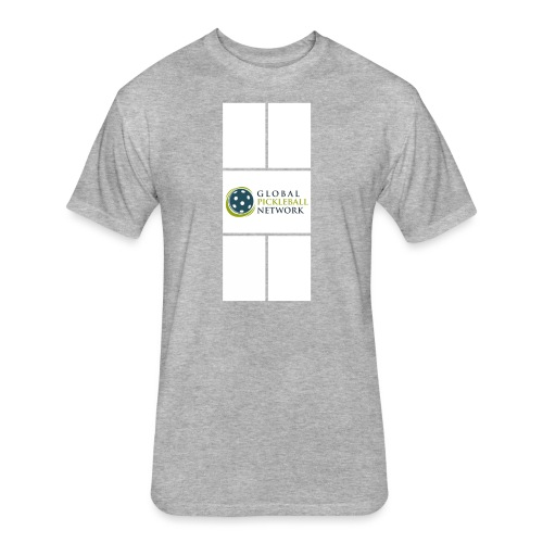 Global Pickleball Network Logo on White Court - Fitted Cotton/Poly T-Shirt by Next Level