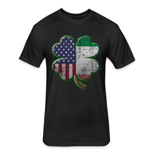Irish American Shamrock Flags - Fitted Cotton/Poly T-Shirt by Next Level