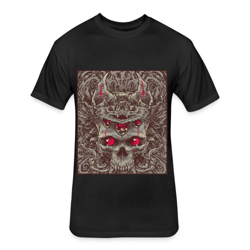 Bat and Skull - Fitted Cotton/Poly T-Shirt by Next Level