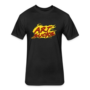 Flaming Art Sucks - Fitted Cotton/Poly T-Shirt by Next Level