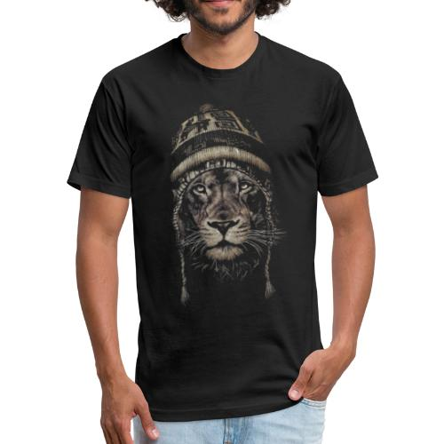Lion white hat beanie king animal - Fitted Cotton/Poly T-Shirt by Next Level