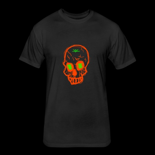 grunge skull - Fitted Cotton/Poly T-Shirt by Next Level