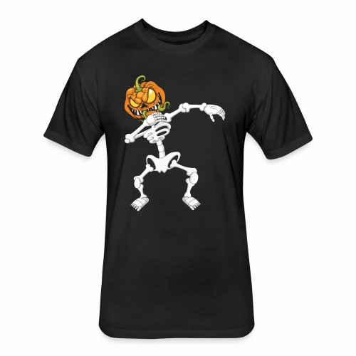 Funny Dabbing Skeleton Pumpkin Halloween T-Shirt - Fitted Cotton/Poly T-Shirt by Next Level