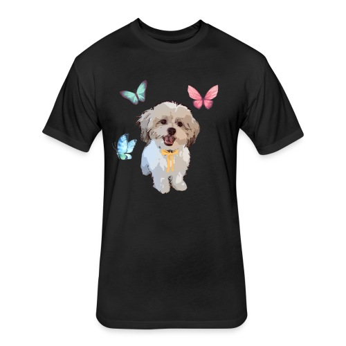 Shih Tzu Butterflies design - Fitted Cotton/Poly T-Shirt by Next Level