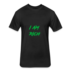 I AM RICH (WASTE YOUR MONEY) - Fitted Cotton/Poly T-Shirt by Next Level