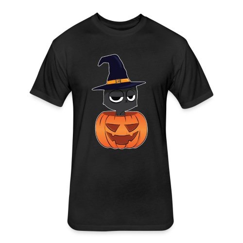 Witch Cat in a Jack o Lantern Halloween Shirt - Fitted Cotton/Poly T-Shirt by Next Level
