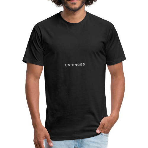 Unhinged Text Design WHITE - Fitted Cotton/Poly T-Shirt by Next Level