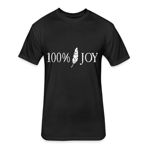 Black T Shirt with White 100% Joy Logo - Fitted Cotton/Poly T-Shirt by Next Level