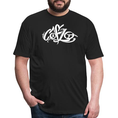 Coflo Logo in White - Fitted Cotton/Poly T-Shirt by Next Level