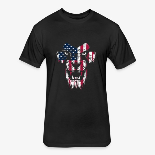 American Flag Lion - Fitted Cotton/Poly T-Shirt by Next Level