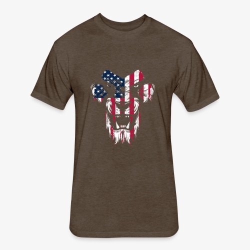 Lovely American Lion USA Flag Silhouette Portrait - Fitted Cotton/Poly T-Shirt by Next Level