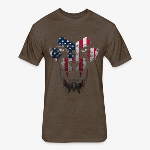 American Flag Lion Shirt - Fitted Cotton/Poly T-Shirt by Next Level