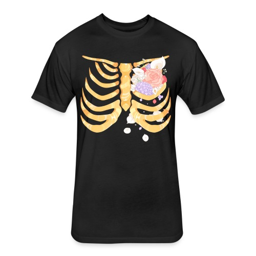 Pastel Goth Gold Rib Cage Shirt - Fitted Cotton/Poly T-Shirt by Next Level