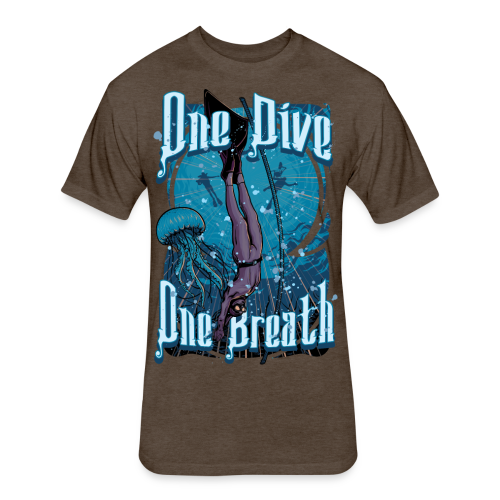 One Dive One Breath Freediving - Fitted Cotton/Poly T-Shirt by Next Level