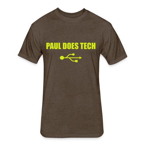 Paul Does Tech Yellow Logo With USB (MERCH) - Fitted Cotton/Poly T-Shirt by Next Level
