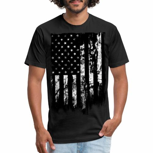 Battleworn US Flag - Fitted Cotton/Poly T-Shirt by Next Level