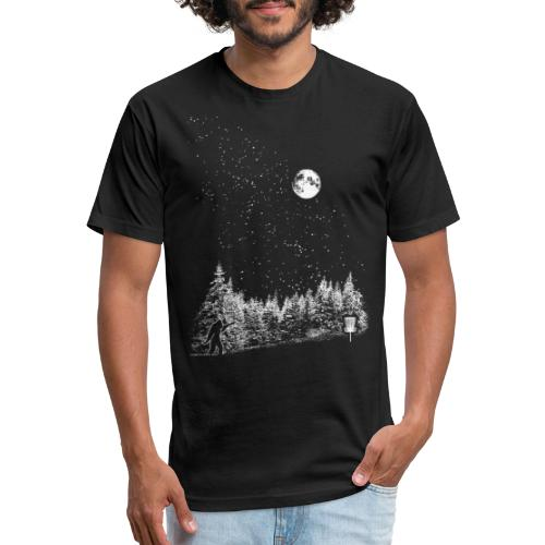 Starry Night Disc Golf Moon Sasquatch Shirt - Fitted Cotton/Poly T-Shirt by Next Level