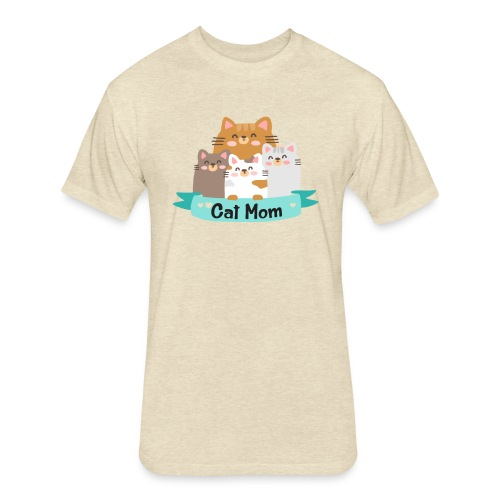 Cat MOM, Cat Mother, Cat Mum, Mother's Day - Fitted Cotton/Poly T-Shirt by Next Level