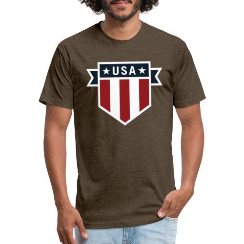 USA Pride Red White and Blue Patriotic Shield - Fitted Cotton/Poly T-Shirt by Next Level