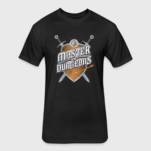 master of dungeons shield and swords fantasy gift - Fitted Cotton/Poly T-Shirt by Next Level