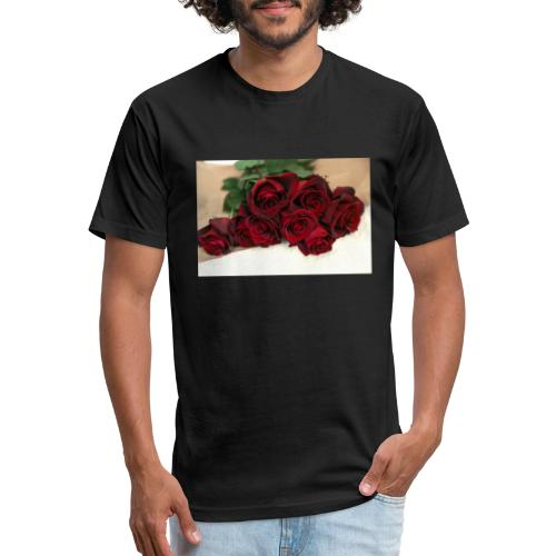 red rose bouquet on table - Fitted Cotton/Poly T-Shirt by Next Level
