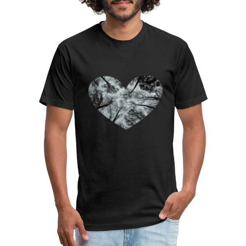Heart Abstract Black and White Trees - Fitted Cotton/Poly T-Shirt by Next Level