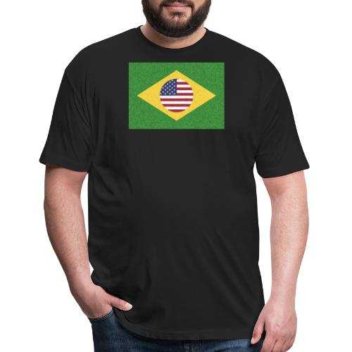 Brazil and USA Flag - Fitted Cotton/Poly T-Shirt by Next Level