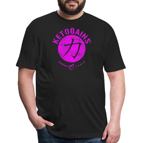 Strength&Power Fuchsia - Fitted Cotton/Poly T-Shirt by Next Level