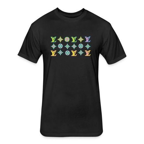 custom coloured LV pattern. - Fitted Cotton/Poly T-Shirt by Next Level