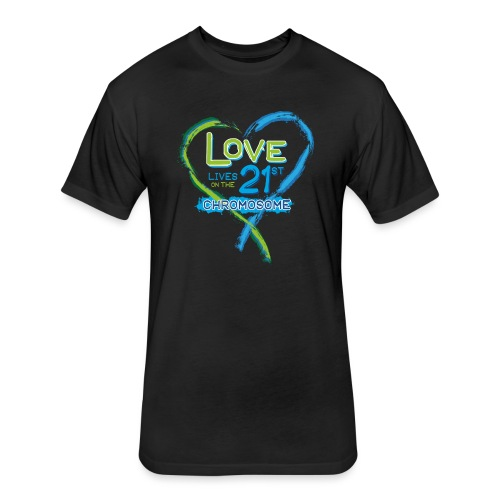 Down Syndrome Love (Blue) - Fitted Cotton/Poly T-Shirt by Next Level