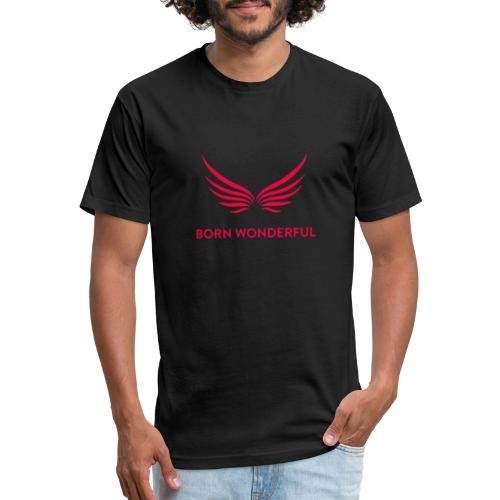 Red Born Wonderful Logo - Fitted Cotton/Poly T-Shirt by Next Level