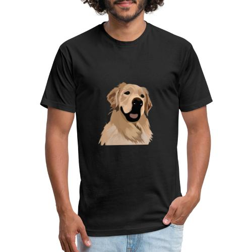 Hand illustrated golden retriever print / goldie - Fitted Cotton/Poly T-Shirt by Next Level