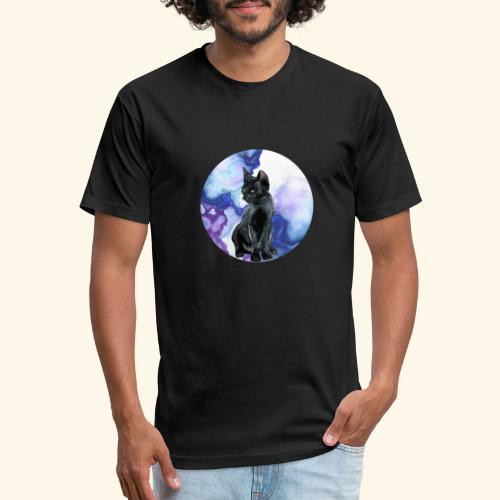 world of cats Watercolor Design - Fitted Cotton/Poly T-Shirt by Next Level