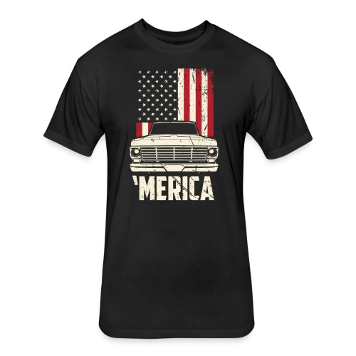 'Merican F100 Truck Men's T-Shirt - Fitted Cotton/Poly T-Shirt by Next Level
