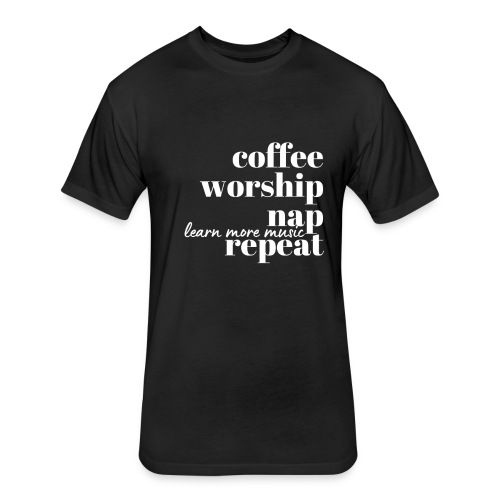 Coffee Worship Nap Tee - Fitted Cotton/Poly T-Shirt by Next Level