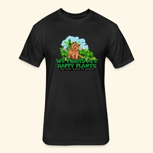 We Plants Are Happy Plants - Bear Logo 2 - Fitted Cotton/Poly T-Shirt by Next Level