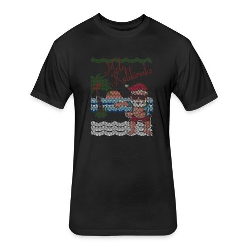 Ugly Christmas Sweater Hawaiian Dancing Santa - Fitted Cotton/Poly T-Shirt by Next Level