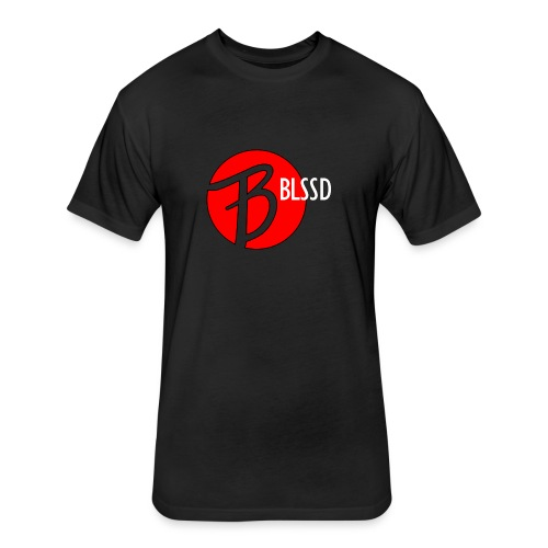 RED BLSSD CIRCLE WITH WHITE WRITING - Fitted Cotton/Poly T-Shirt by Next Level
