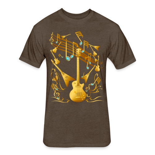 Gold Guitar Party - Fitted Cotton/Poly T-Shirt by Next Level